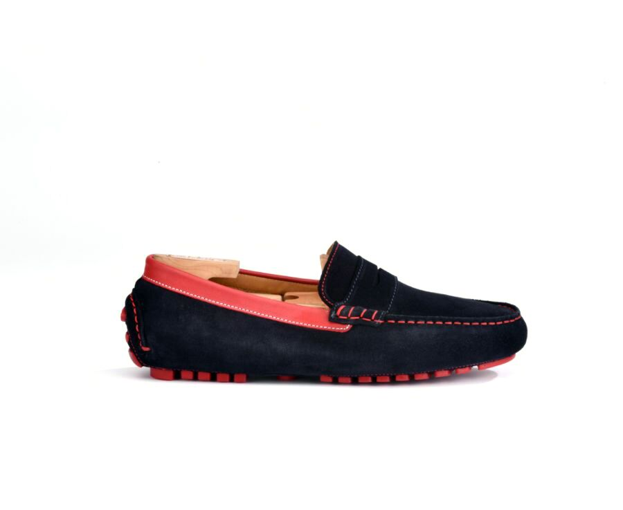 Ferguson Navy Suede and red leather rouge