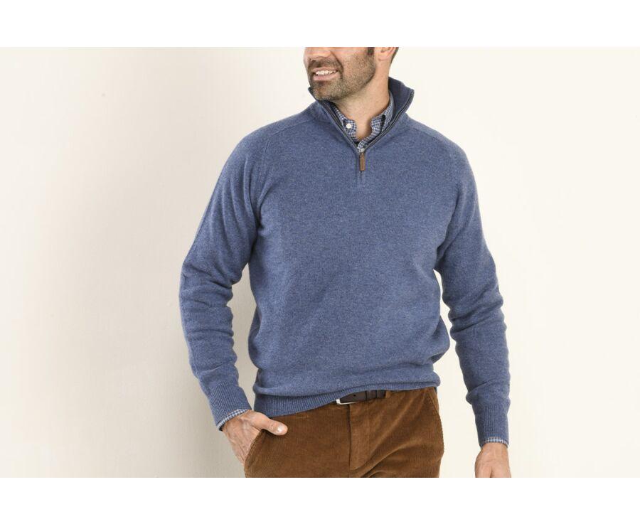Pull homme laine col zippé Bleu Foncé Chiné - KENNETH