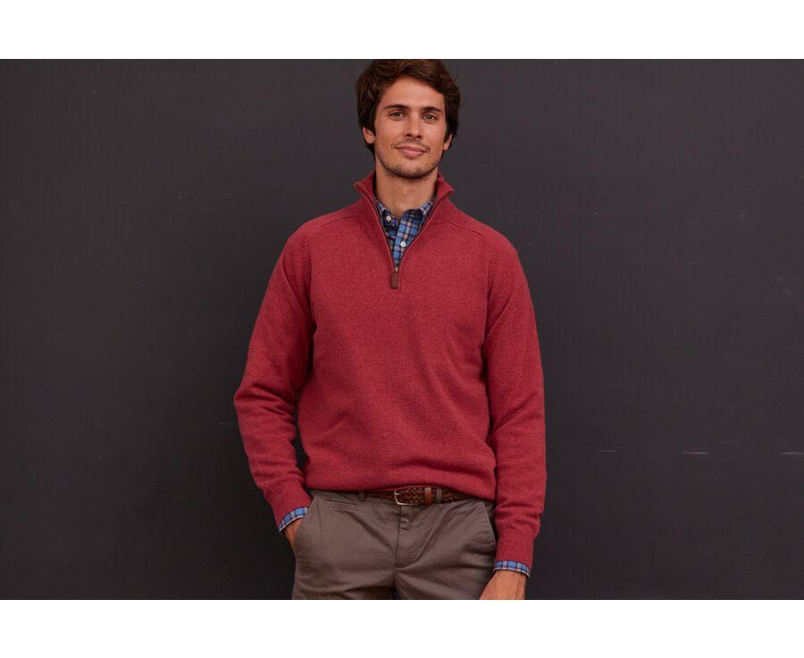 Pull homme laine col zippé Rouge Chiné - KENNETH