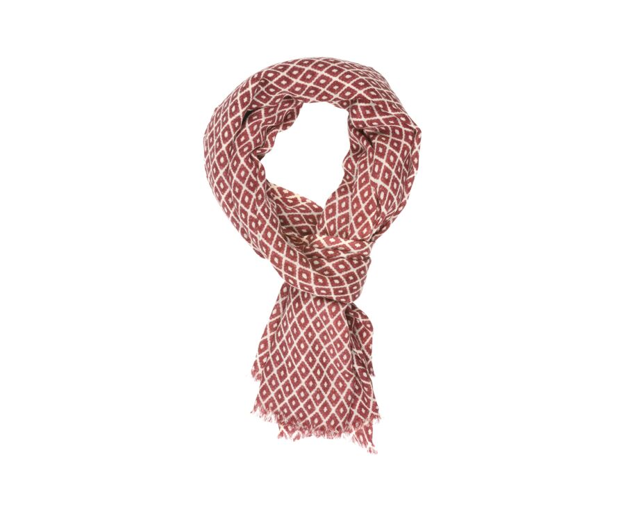 Woolen Scarf Red diamond pattern
