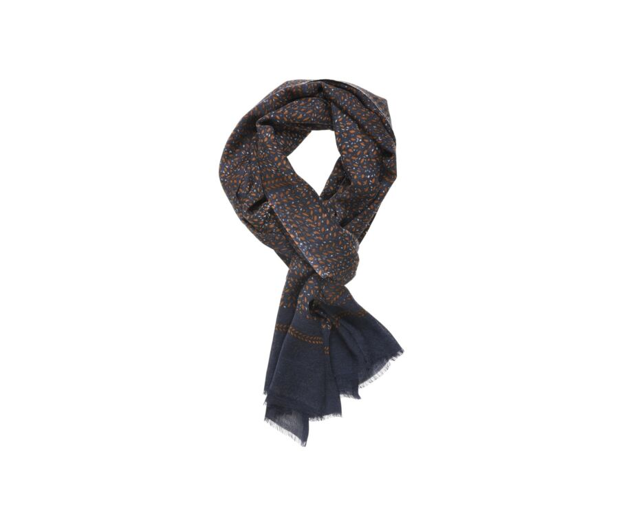 Woolen Scarf Navy with Camel and Grey pattern