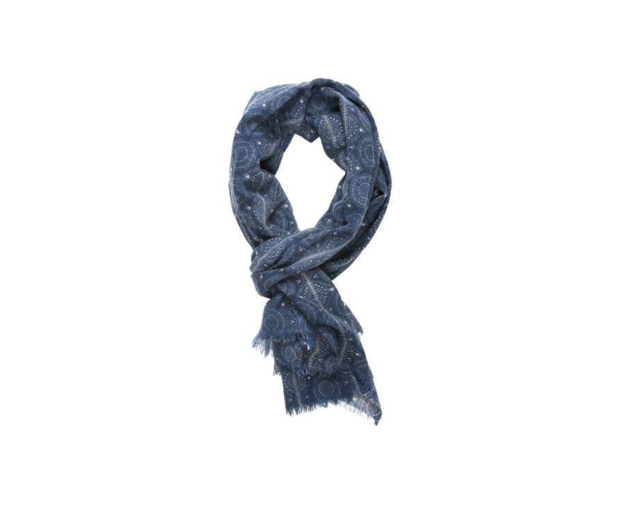 Woolen Scarf Pigeon blue pattern