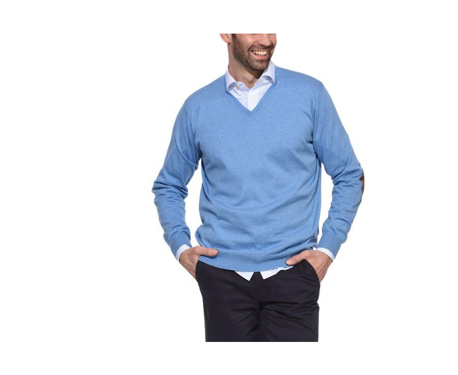 Pull fin homme coton Pima/cachemire col V Bleu Chiné - VADIM