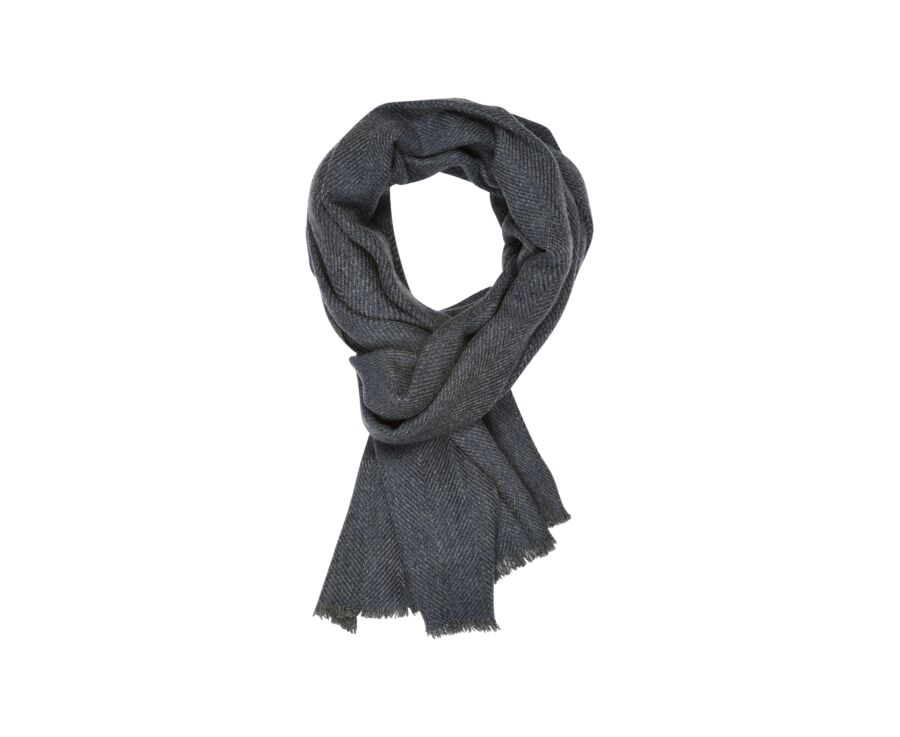 Woolen Cashmere Scarf chevron-patterned bleu and grey