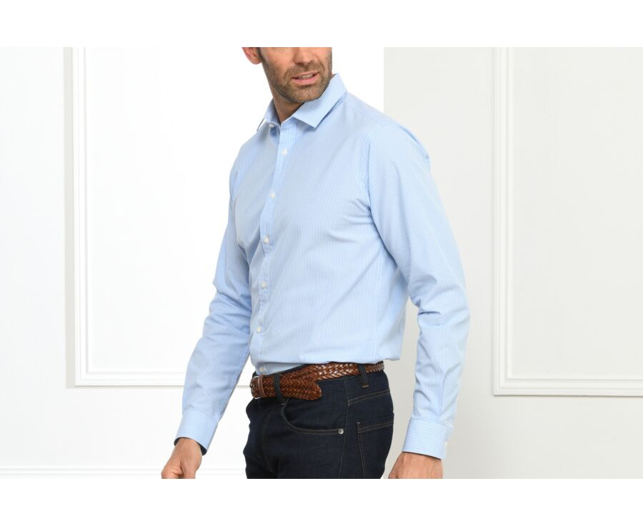 Chemise coton bleue à rayures blanches - QUENTIN