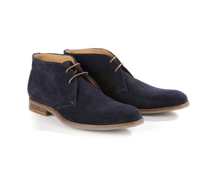 Desert boots homme Velours Bleu Océan - WARWICK GOMME