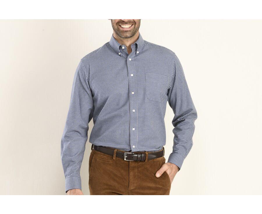 Chemise flanelle marine à petits carreaux blancs - BRODY