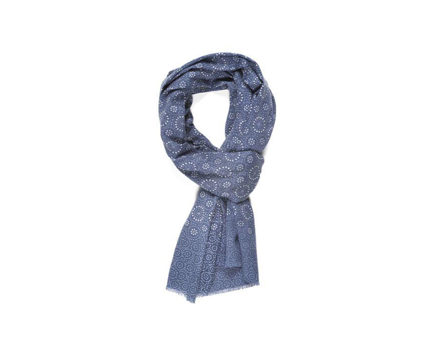 Cotton Thin Scarf Indigo Blue Pattern