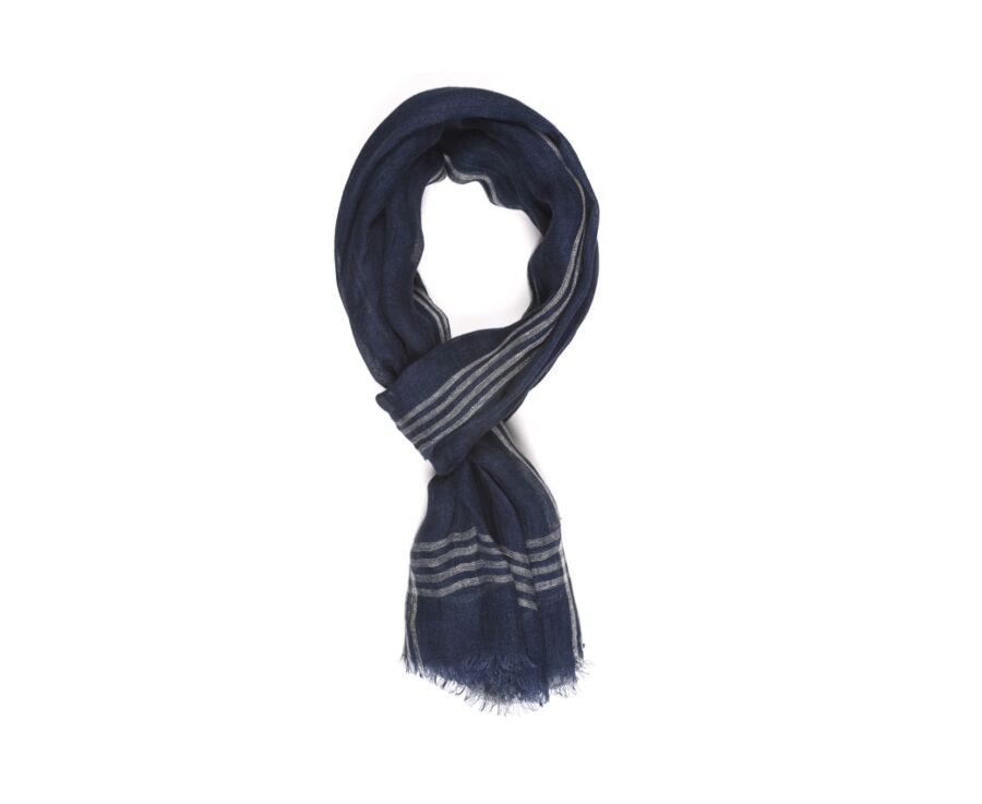 Linen Thin Scarf Ecru Stripes