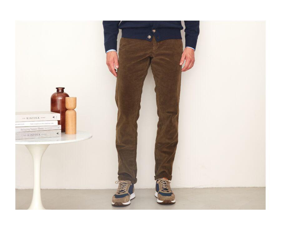 Pantalon chino velours côtelé homme Olive - NORMAN