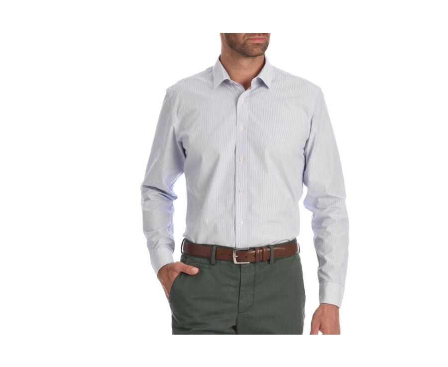 Chemise blanche coton rayures bleues - CLÉMENT