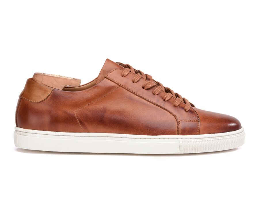 Sneakers cuir homme Châtaigne Patiné - INGLEWOOD