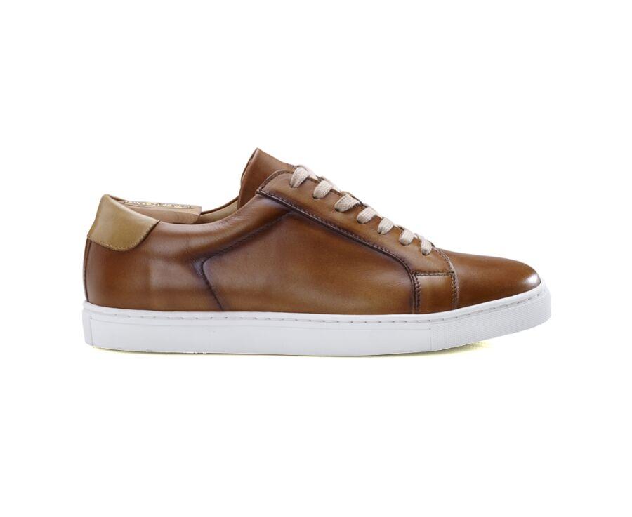 Sneakers homme cuir Cognac patiné - INGLEWOOD