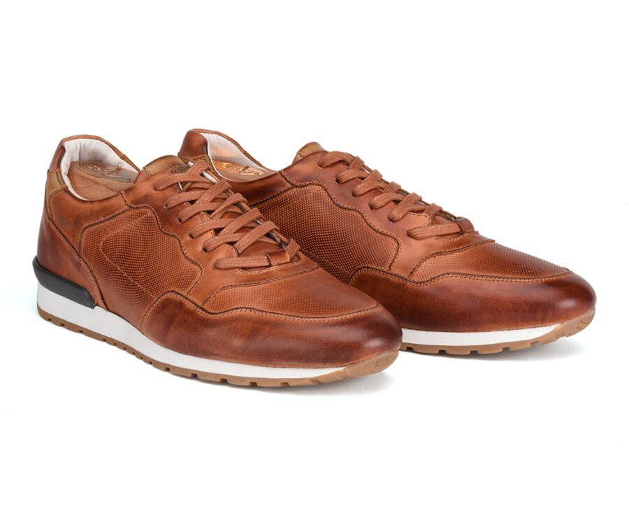 Sneakers Châtaigne Patiné cuir homme - CANBERRA