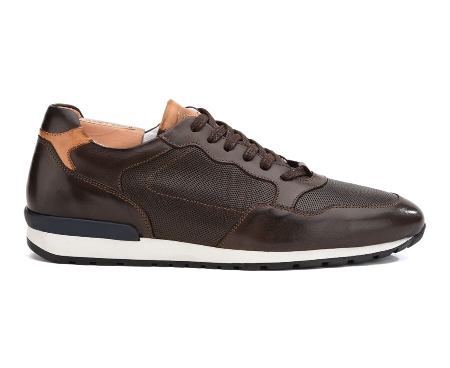 Sneakers Chocolat Patiné cuir homme - CANBERRA