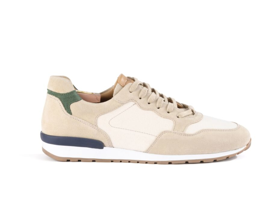 Sneakers homme Velours Beige et Toile - CANBERRA