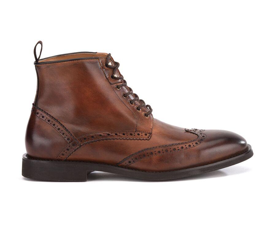 Derby boots homme à lacets Châtaigne patiné - CHARING GOMME CITY