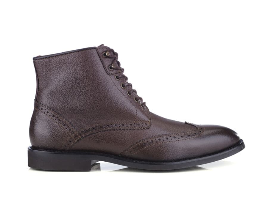 Derby boots homme à lacets Chocolat grainé - CHARING GOMME CITY