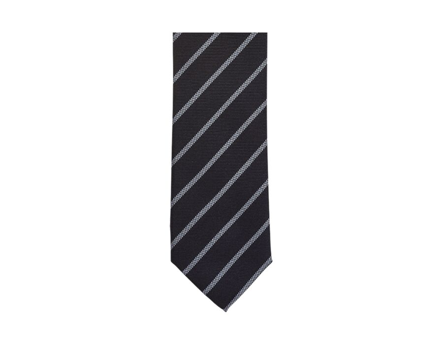 Stripe Silk Tie Navy and sky blue
