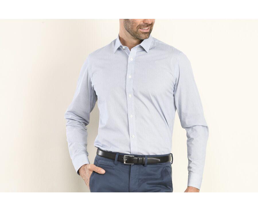 Chemise blanche imprimée motifs bleu navy - Col français - OSCAR