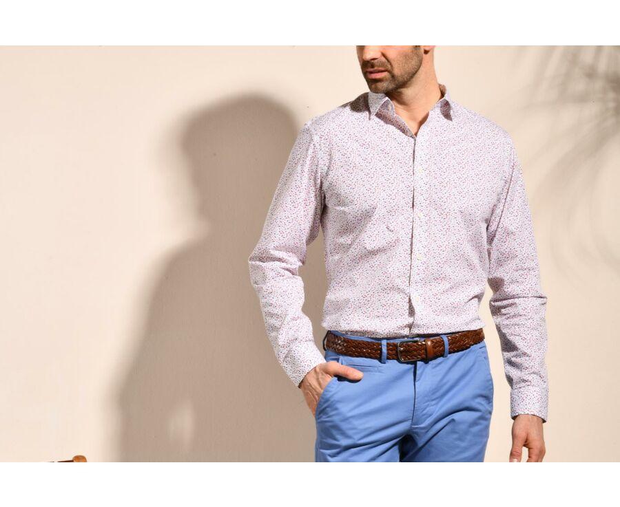 Chemise blanche coton imprimé bleu, rouge et taupe - RODRIGUES