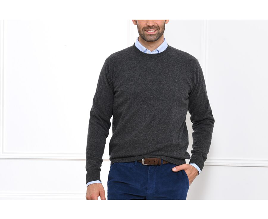 Pull homme laine col rond Gris Anthracite Chiné - CONAN