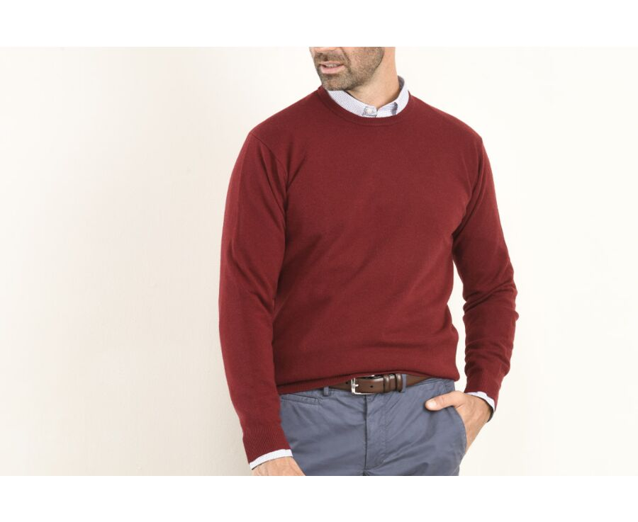 Pull homme laine col rond Rouge Sombre - CONAN