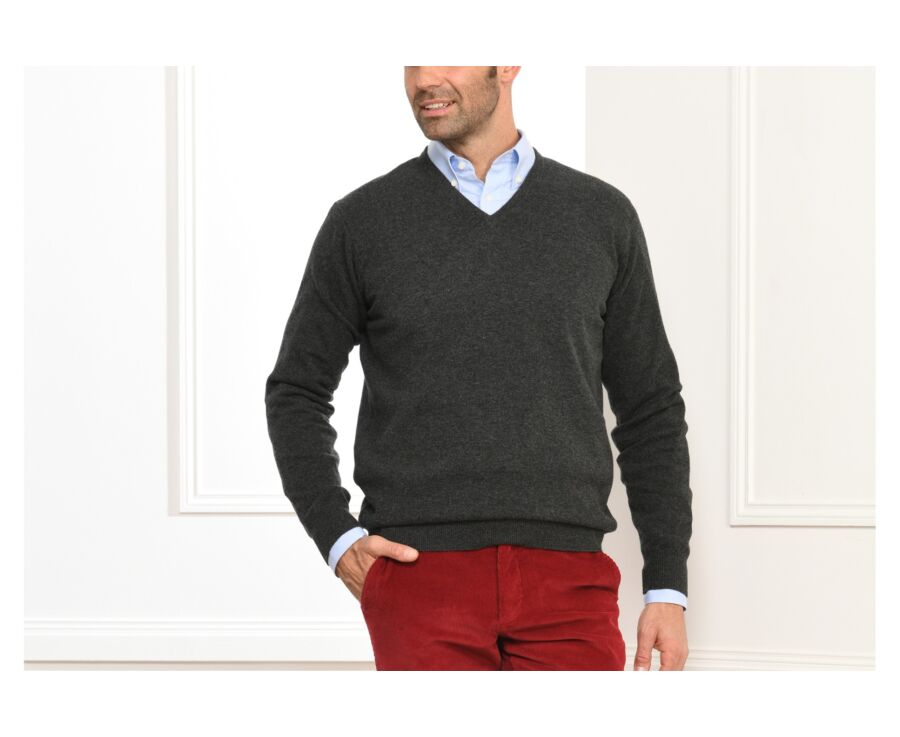 Pull homme laine col V Gris Anthracite Chiné - ELIAN