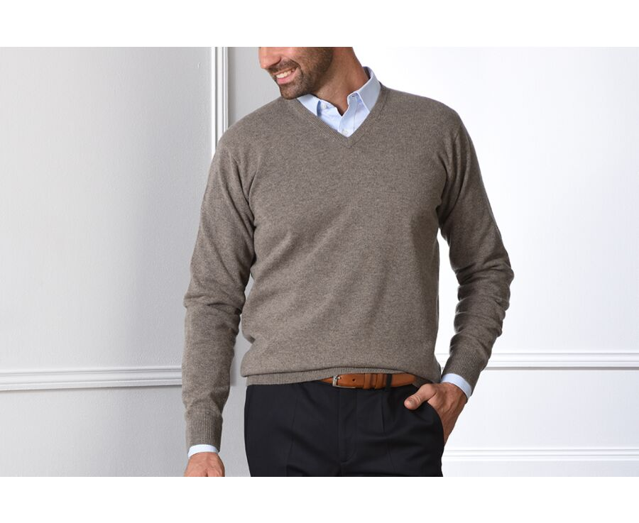 Pull homme laine col V Gris Taupe Chiné - ELIAN