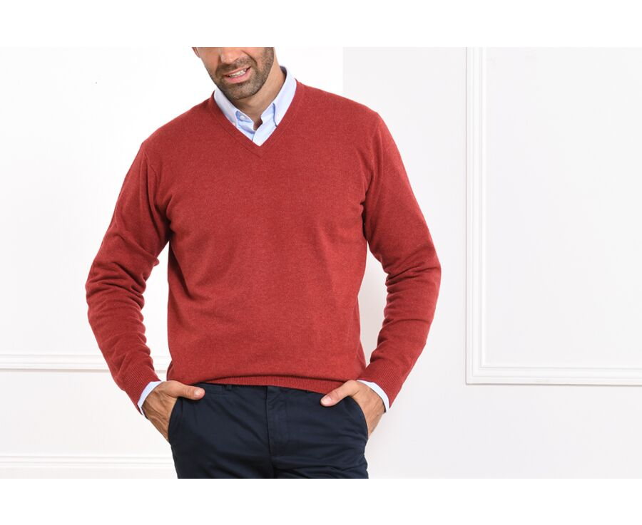 Pull homme laine col V Rouge Chiné - ELIAN