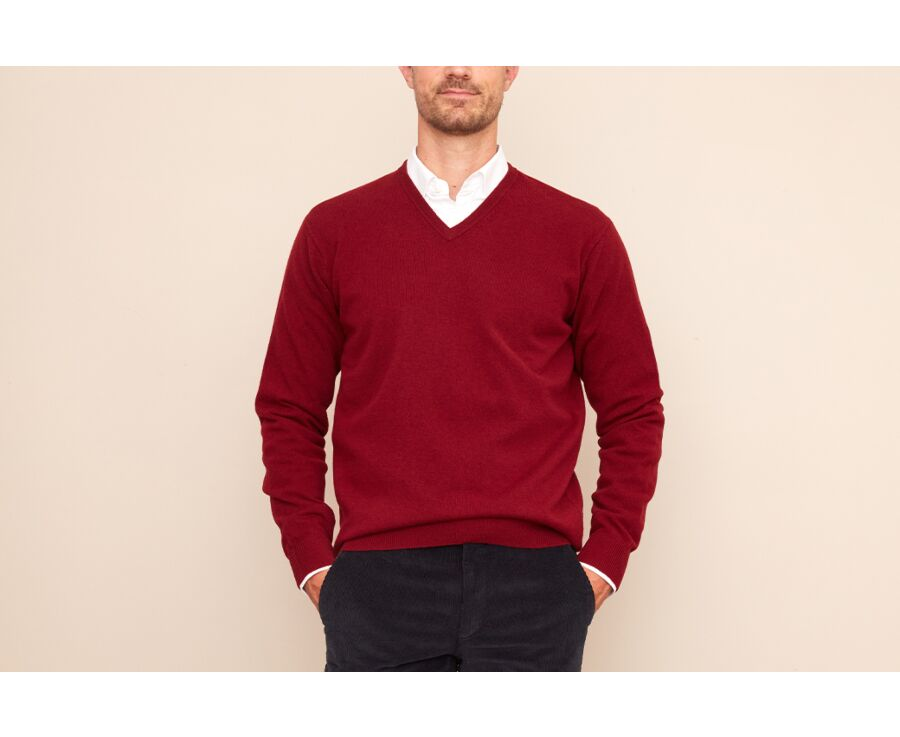 Pull homme laine col V Rouge sombre - ELIAN