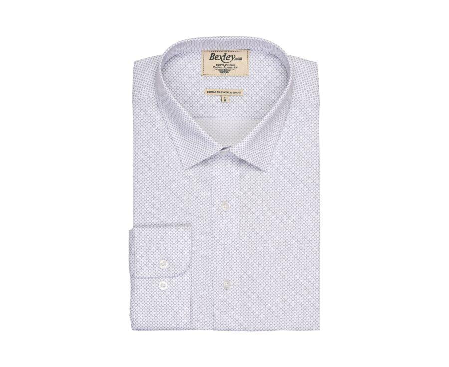 Chemise blanche imprimée motifs gris - Col français - ALPHONSE