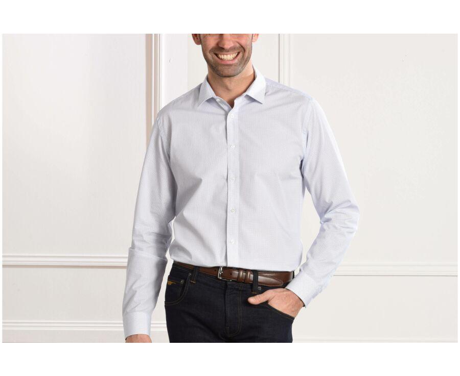 Chemise blanche imprimée motifs bleus - Col français - ALPHONSE