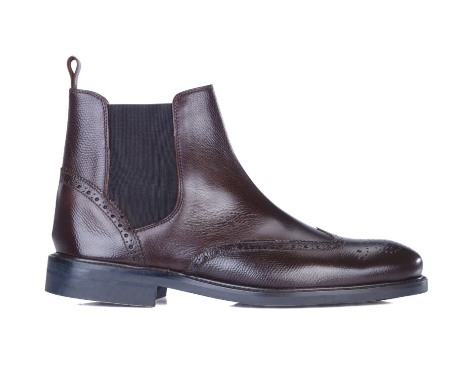 Boots cuir homme Chocolat grainé - ATWORTH GOMME CITY