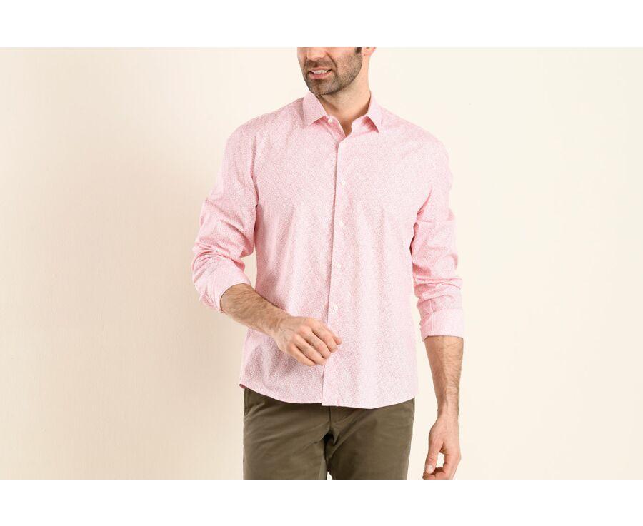 Chemise blanche imprimée motifs rouges - Col français - MARIUS
