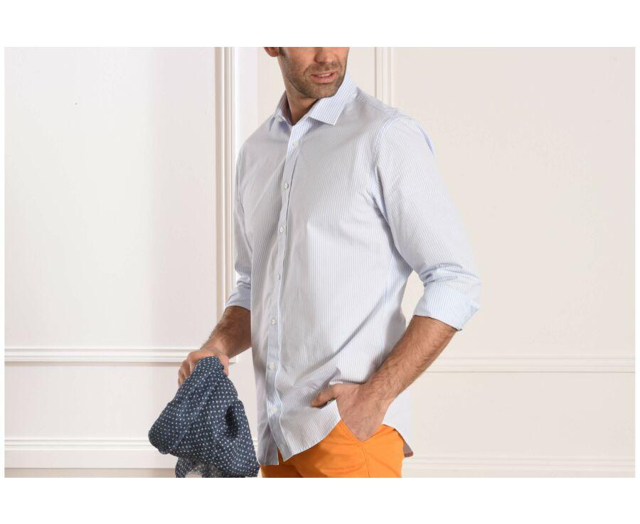 Chemise rayée blanc et bleu clair - MELCHIOR