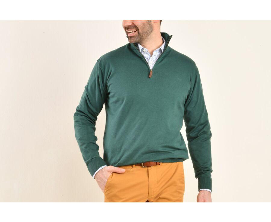 Pull fin homme coton Pima/cachemire col zippé Vert Foncé - VLAD