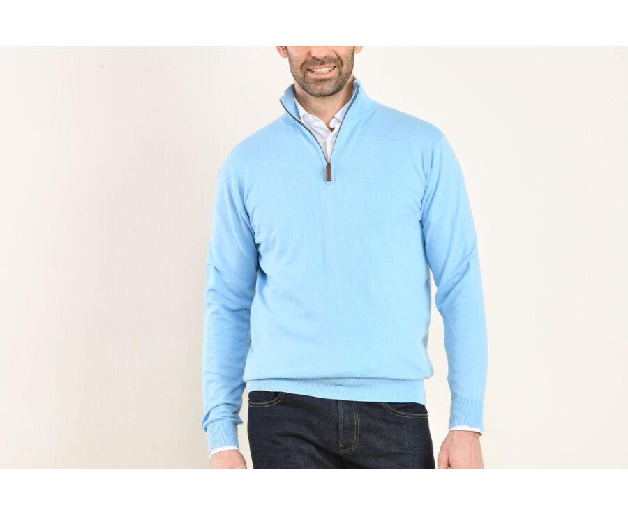 Pull fin homme coton Pima/cachemire col zippé Bleu Azur - VLAD