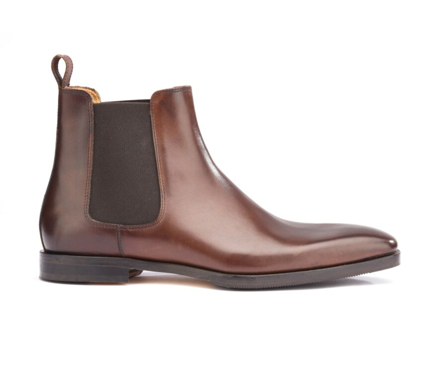 Chelsea boots cuir homme Châtaigne - BERGAME PATIN