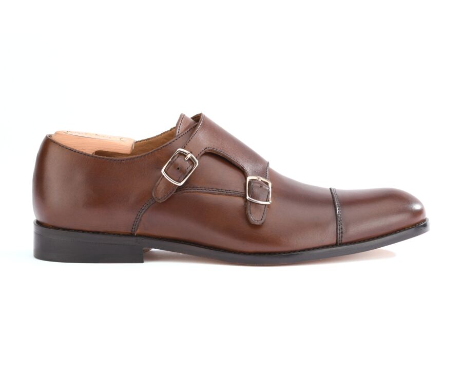 Chaussures homme double boucle Châtaigne avec patin - GRESHAM PATIN