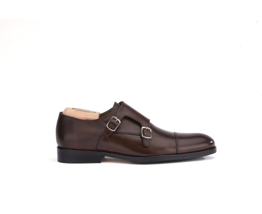 Chaussures homme double boucle Chocolat avec patin - GRESHAM PATIN
