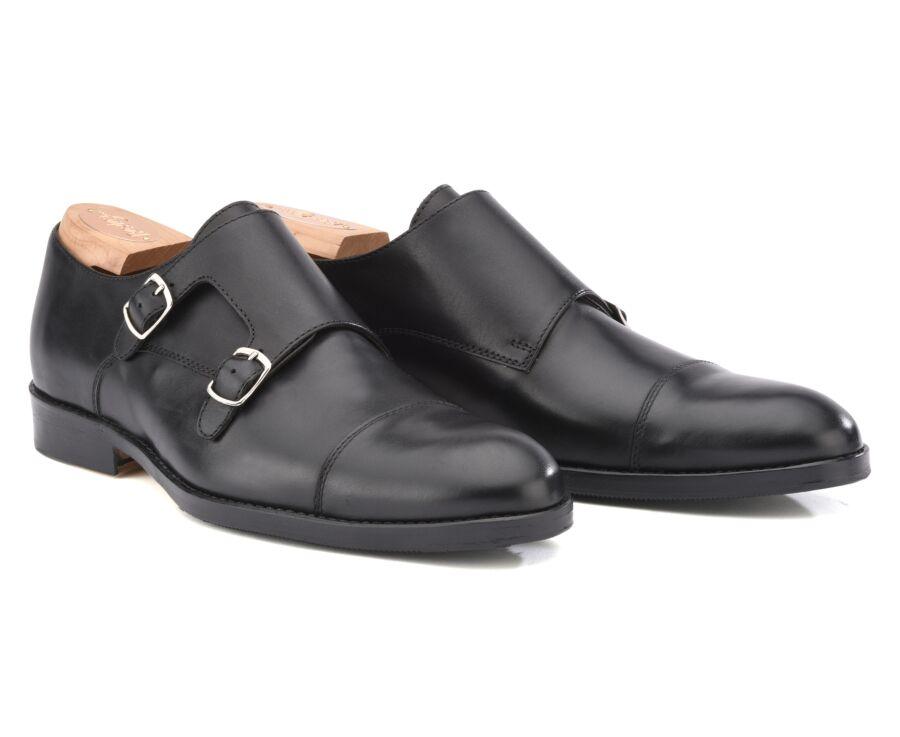 Chaussures homme double boucle Noir avec patin - GRESHAM PATIN