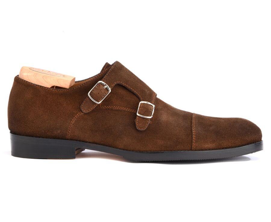 Chaussures homme double boucle Velours Havane avec patin - GRESHAM PATIN
