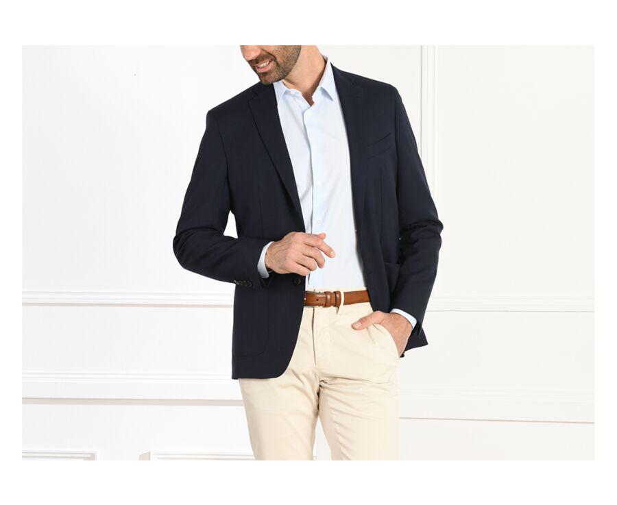 Blazer homme toile laine Bleu Marine - LÉOPOLD