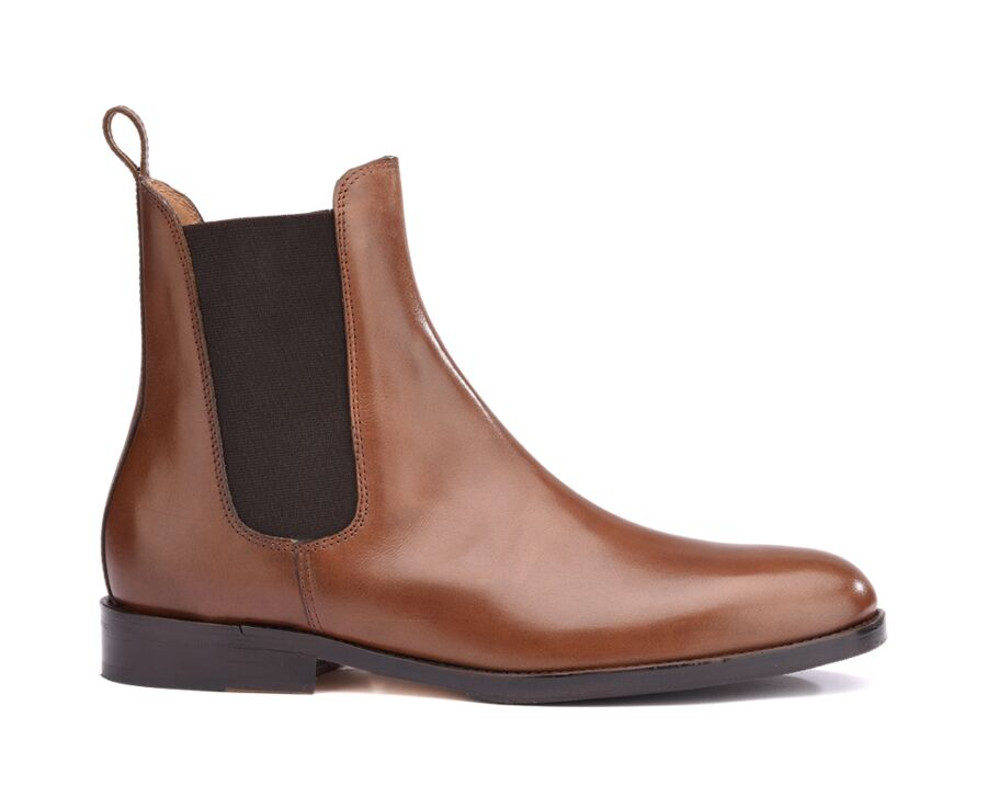 Chelsea boots cuir homme Châtaigne - FLAGER PATIN
