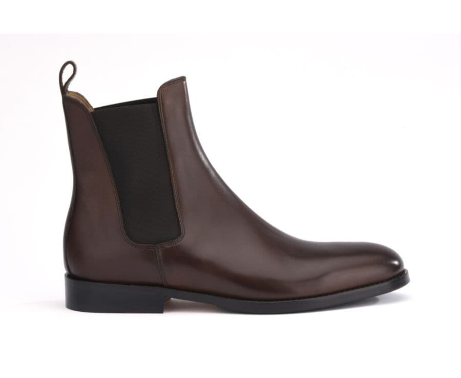 Chelsea boots cuir homme Chocolat - FLAGER PATIN