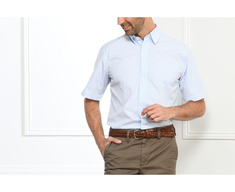 Chemise rayée bleu clair et blanc - MEL MC