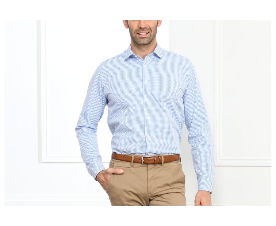 Chemise blanche carreaux bleus - Col français - ALEXIS