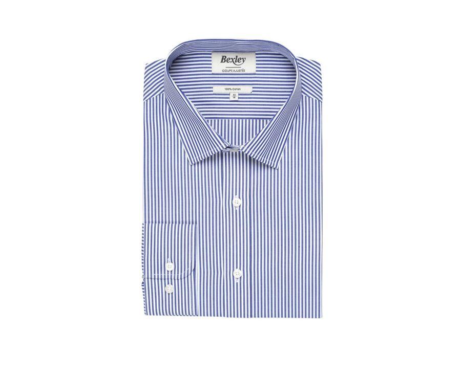 Chemise coton rayée navy et blanc - MAXIMILIEN
