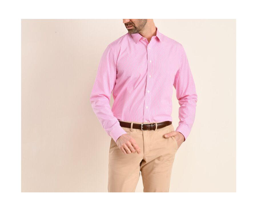Chemise coton rayée rose et blanc - MAXIMILIEN